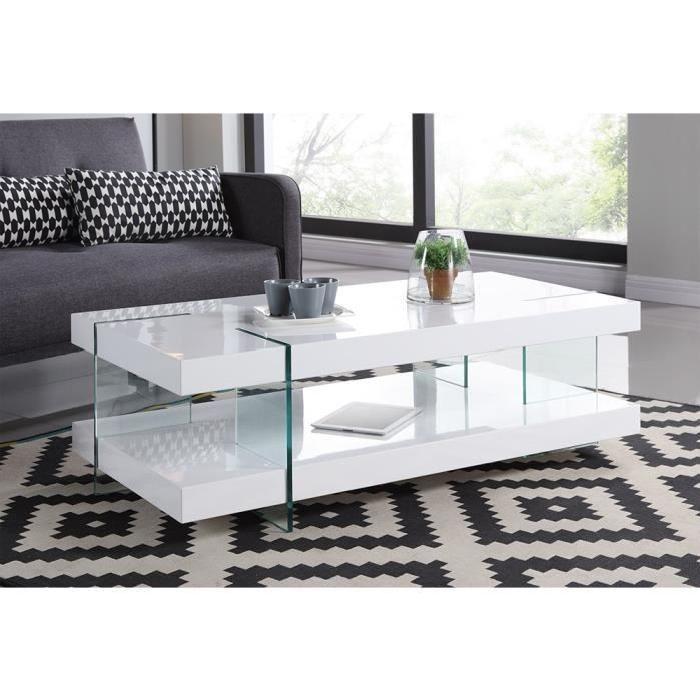 تعاطف موقع previs مذكرات table basse blanc laque et verre
