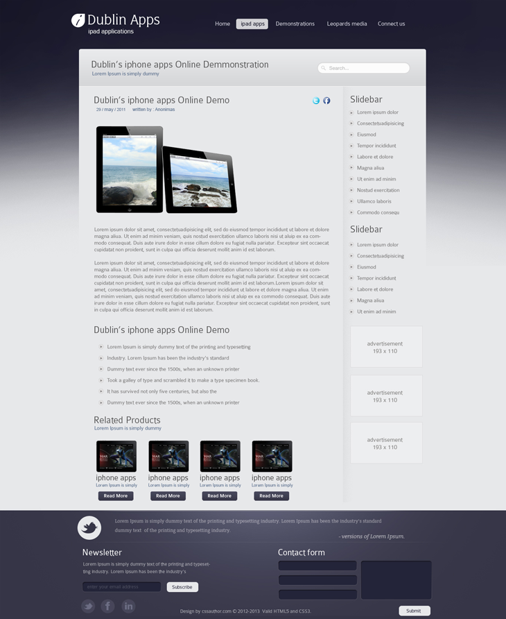 Dublin Ipad Apps Product Inner Page Website Template Design Professional Website Design Website Design