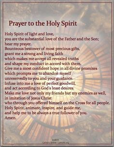 Prayers - Prayer to the Holy Spirit (PDF) | FREE Ship $49 | religion