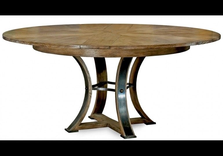 56 Round Table With Self Storing Leaves Gray Bleached Oak Wood