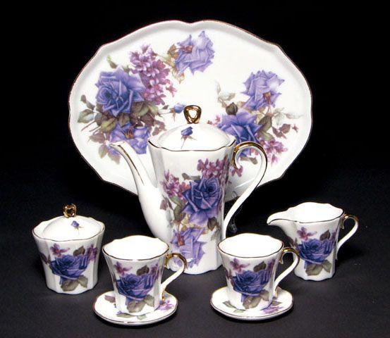 Miniature Porcelain Tea Set White w Purple Lavender Flowers, Tray, Teapot w Lid, Sugar w Lid, Creamer, Two Teacups w Two Saucers.
