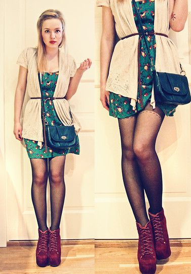 Promod Cardigan, Modcloth Floral Dress, Accessories Blue Bag, Jeffrey Campbell Lita Platform Boots