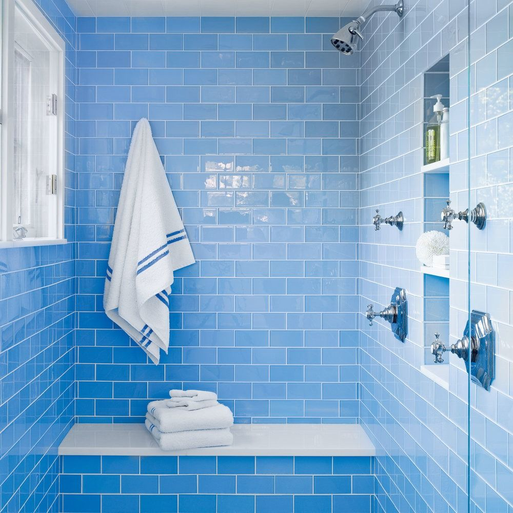 10 Beautiful Blue Bathrooms | Shower seat, Periwinkle blue and ...