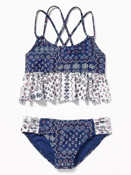 219860faa57 Old Navy Mixed-Print Ruffled Tankini Swim Set for Girls #girls, #oldnavy,  #promotion