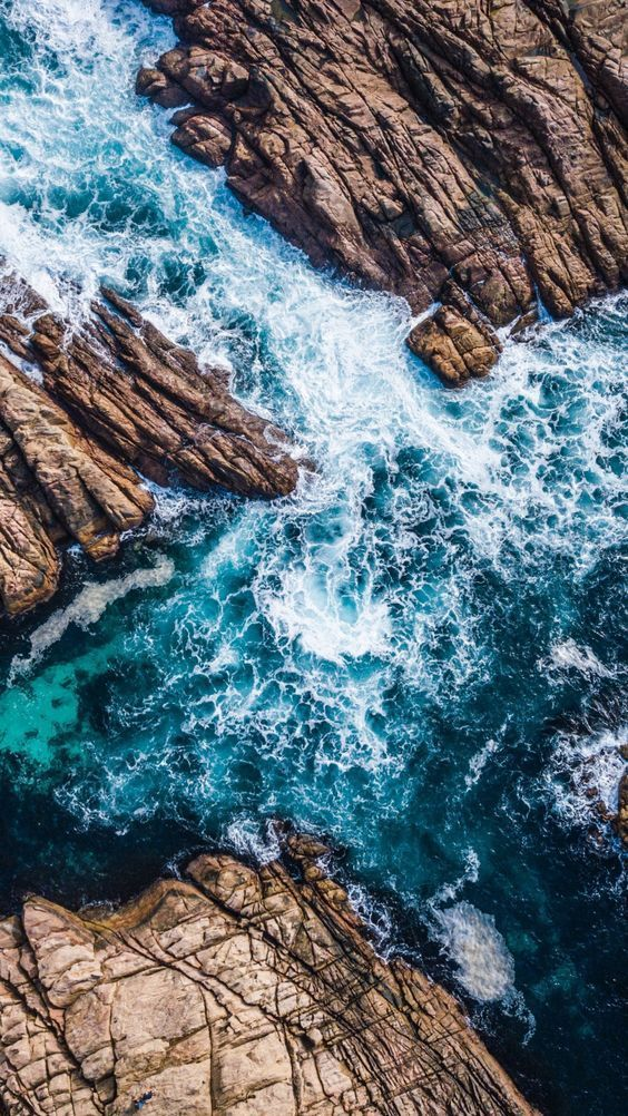 Coast, canal, sea waves, rocks, aerial shot, 720x1280 wallpaper