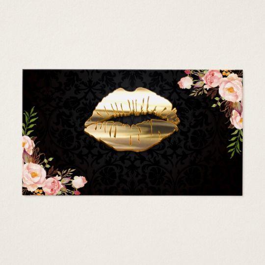 Stunning Gold Lips Makeup Artist Floral Business Card | Zazzle.com