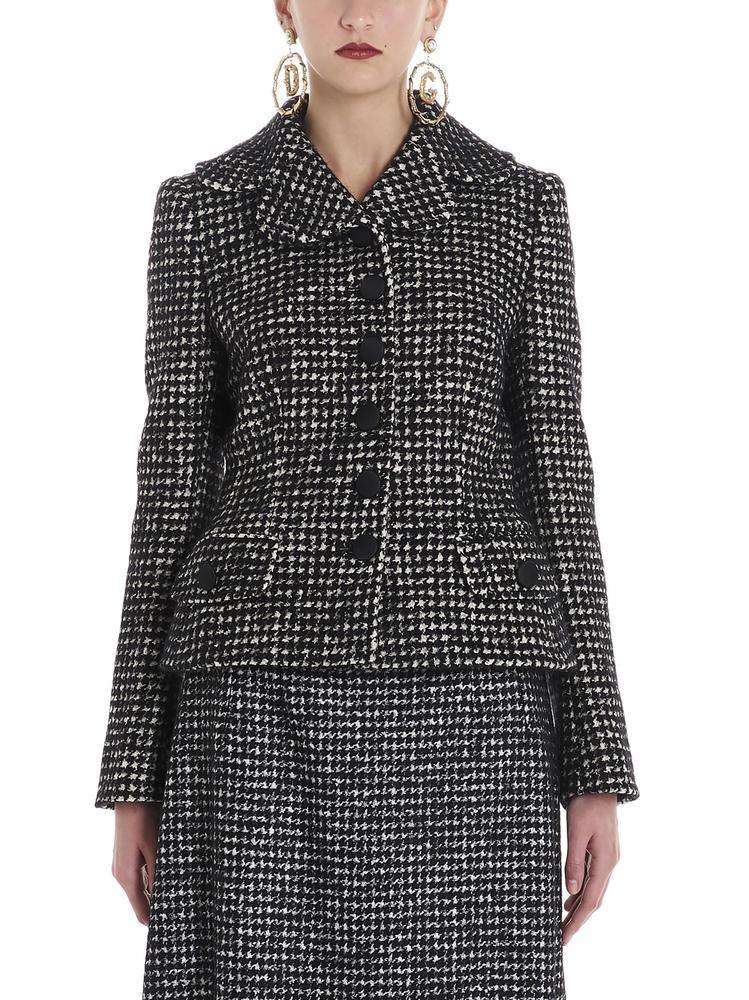 Dolce Gabbana Houndstooth Wool Blend Jacket In Black Modesens Wool Blend Jacket Dolce Gabbana Jacket Blazer Jackets For Women