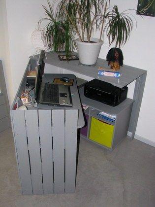 diy un bureau cach r alis avec des palettes maison pinterest bureau bureau cach et. Black Bedroom Furniture Sets. Home Design Ideas