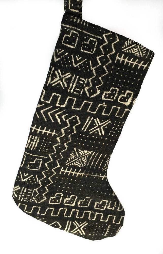 38b50b3cfb51 One Fine Nest African Mud Cloth Christmas Stocking Black African Print    Domino