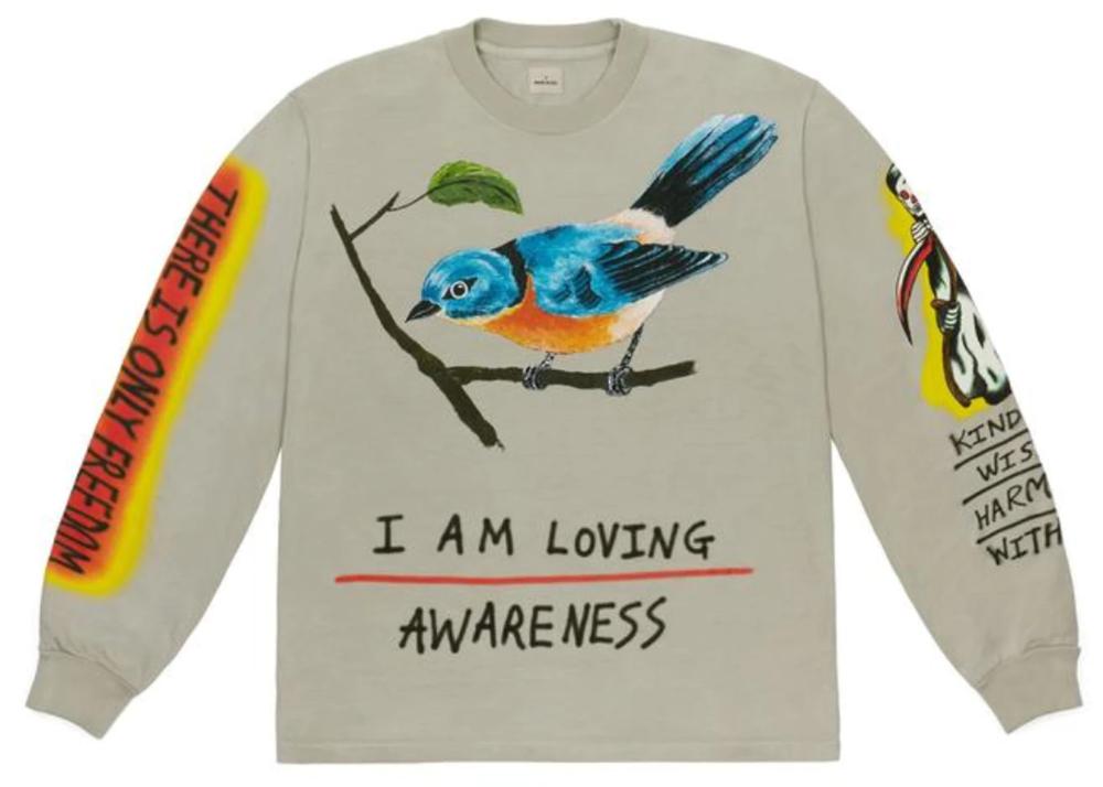 Yeezy Wes Lang Bird L S Tee Vapor In 2020 Shirt Design Inspiration Aesthetic Clothes Shirt Designs