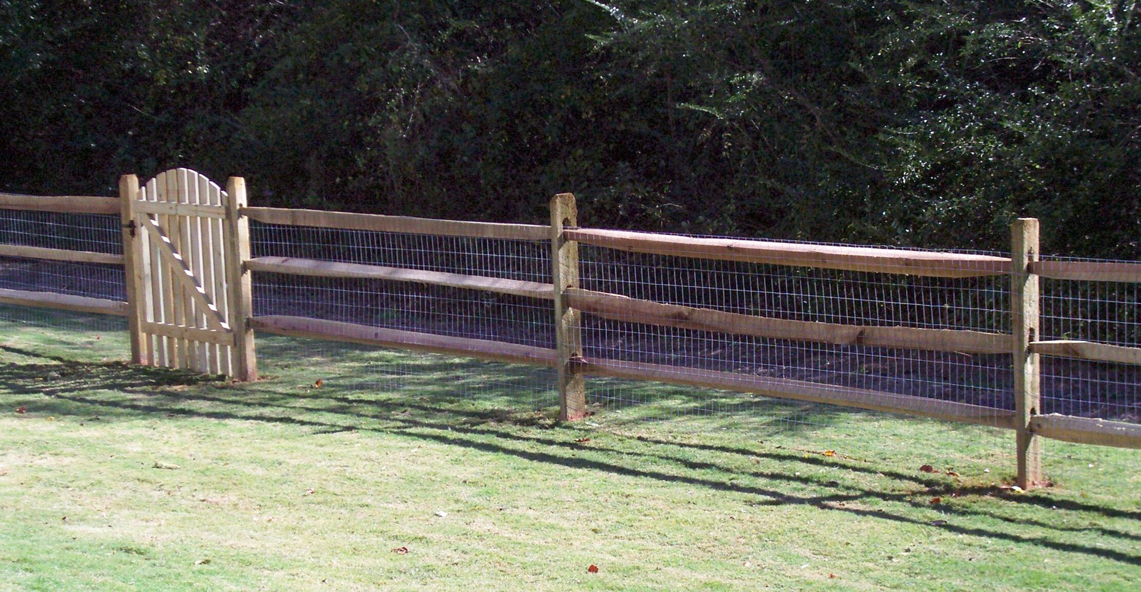 Custom Wood Ranch Rail Fence With Wire For Added