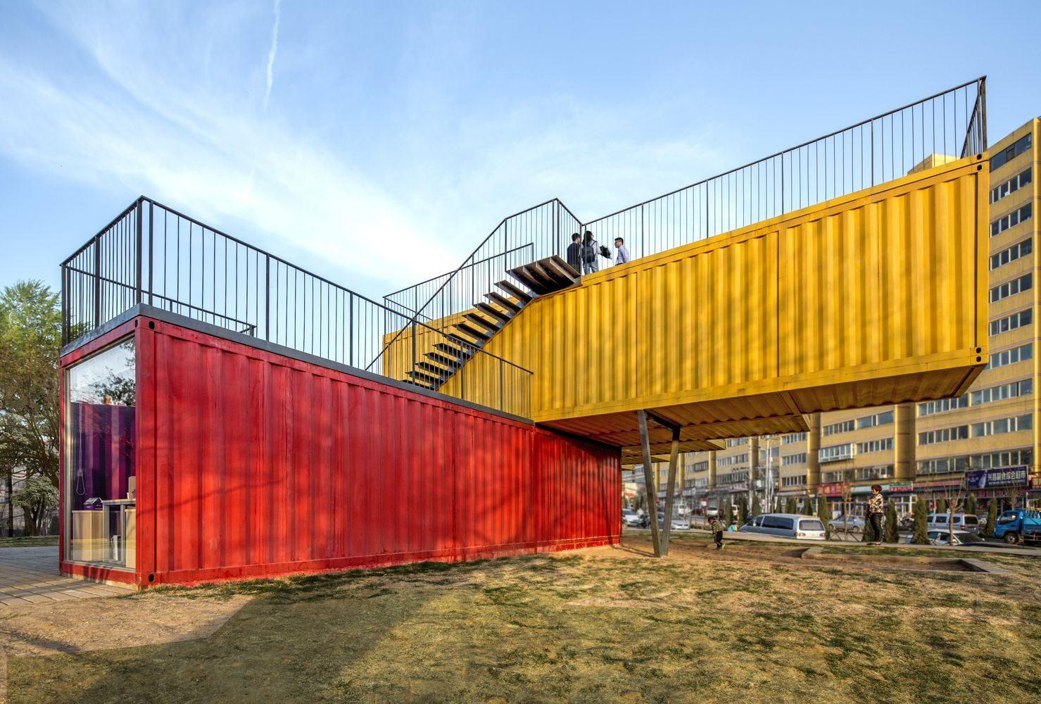 shipping container office building rhode. container stack pavilioncourtesy of peopleu0027s architecture office shipping building rhode