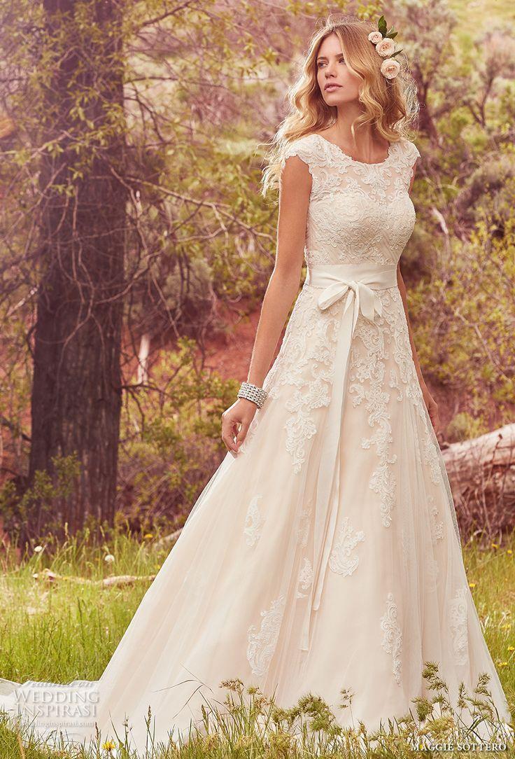 Maggie sottero spring bridal cap sleeves jewel neckline heavily