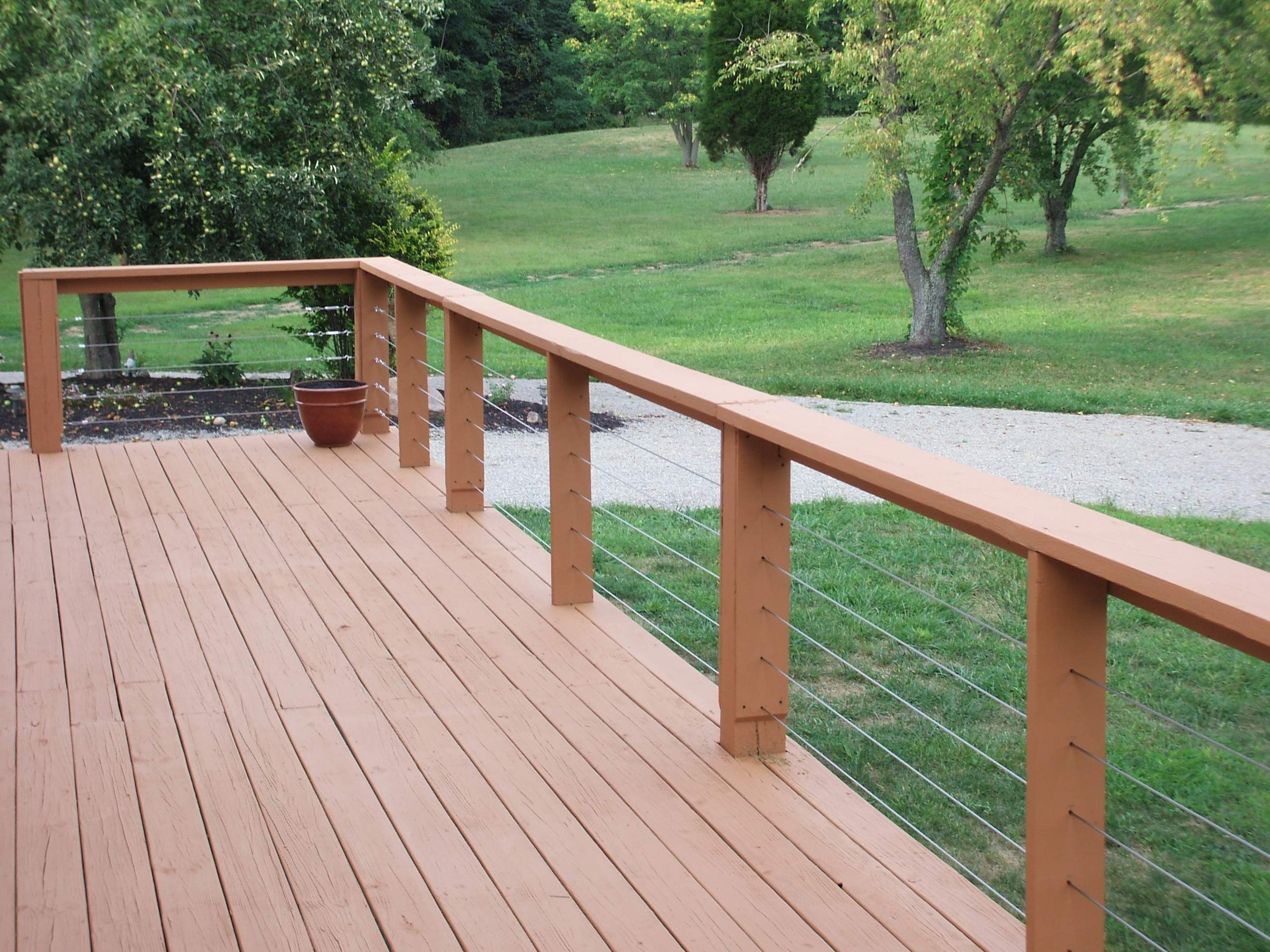 Rail Option With Wire Cheapest Deck Railings Modern Backyard