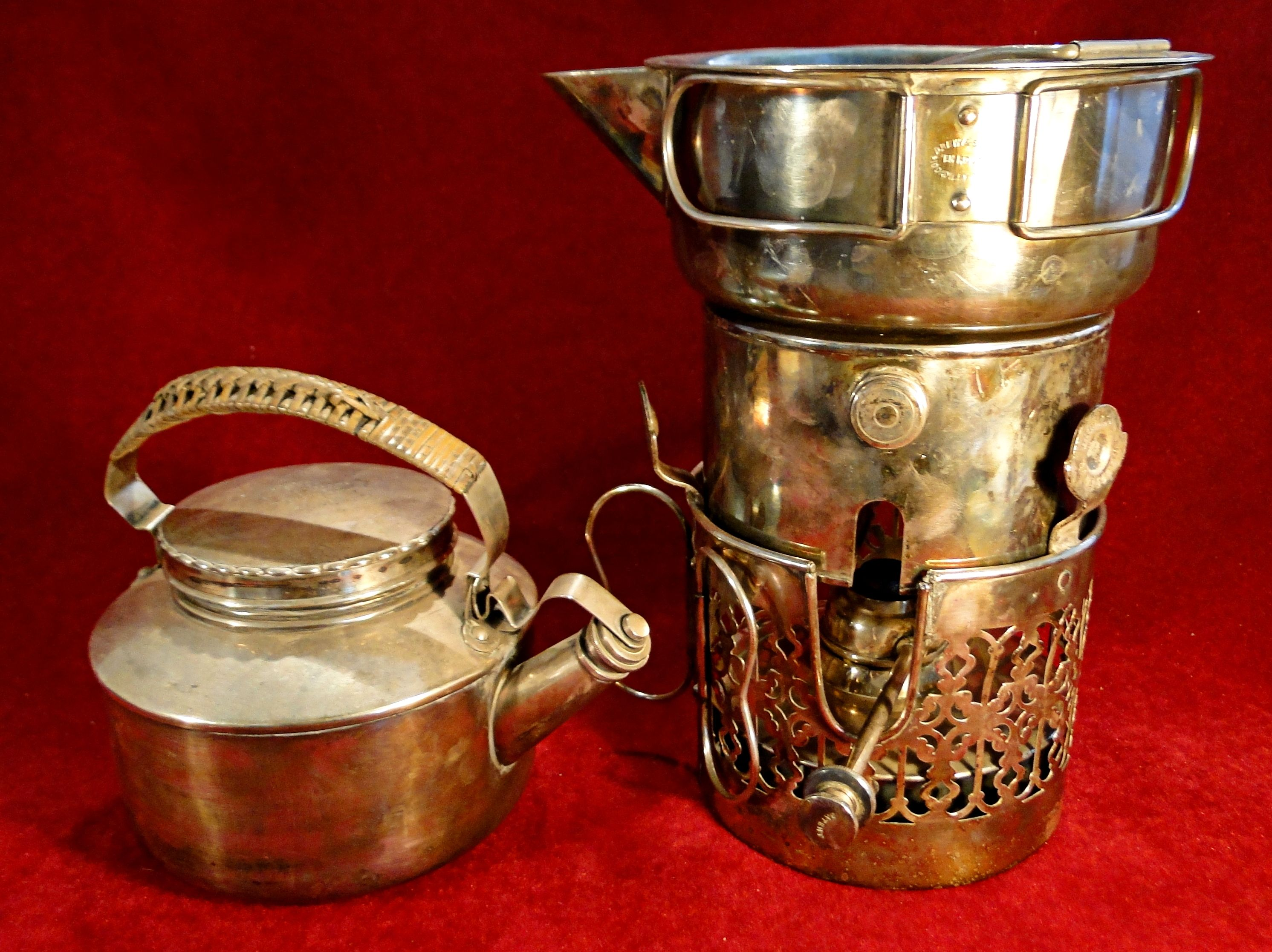 87 A Late 19thc En Route Silver Plated Travelling Cooking Stove By Drew Sons London Comprising A Spirit Burner Pierced Braz Cooking Stove Kettle Stove