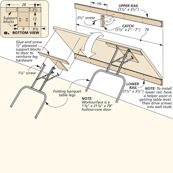 Fold Down Worktable Woodsmith Tips Endroits 224 Visiter