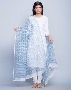 Cotton Silk Kota Floral Jaal Dupatta