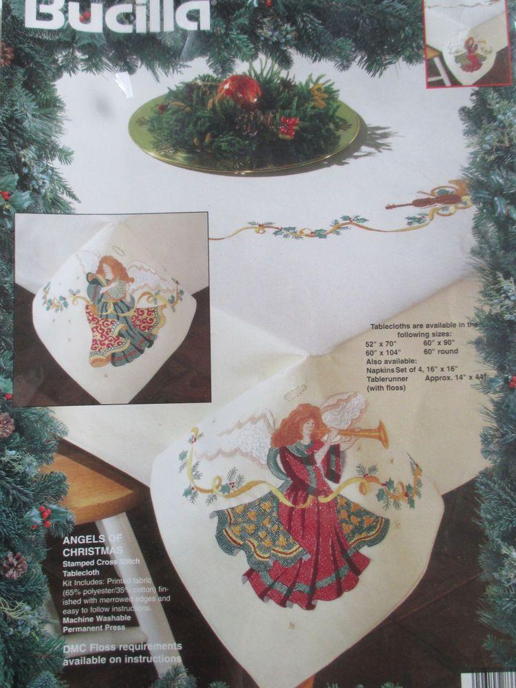 Bucilla Xmas Tree Stamped Cross Stitch Napkins Kit w// Floss TO ALL A GOOD NIGHT