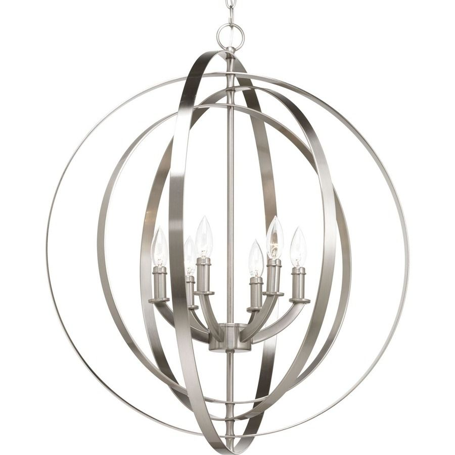 Progress lighting equinox 2775 in brushed nickel multi light cage inspired by ancient astronomy armillary spheres the interlocking rings pivot for an infinite variety of positions six light chandelier pendant in arubaitofo Image collections