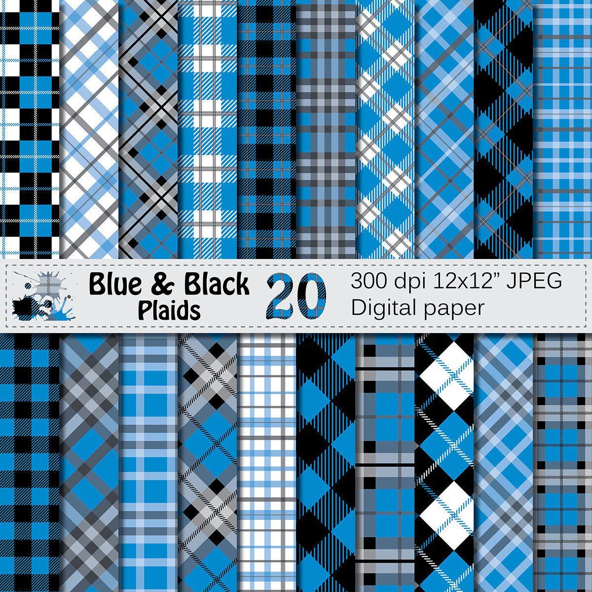 Blue and Black Plaids Digital Paper, Buffalo Plaid