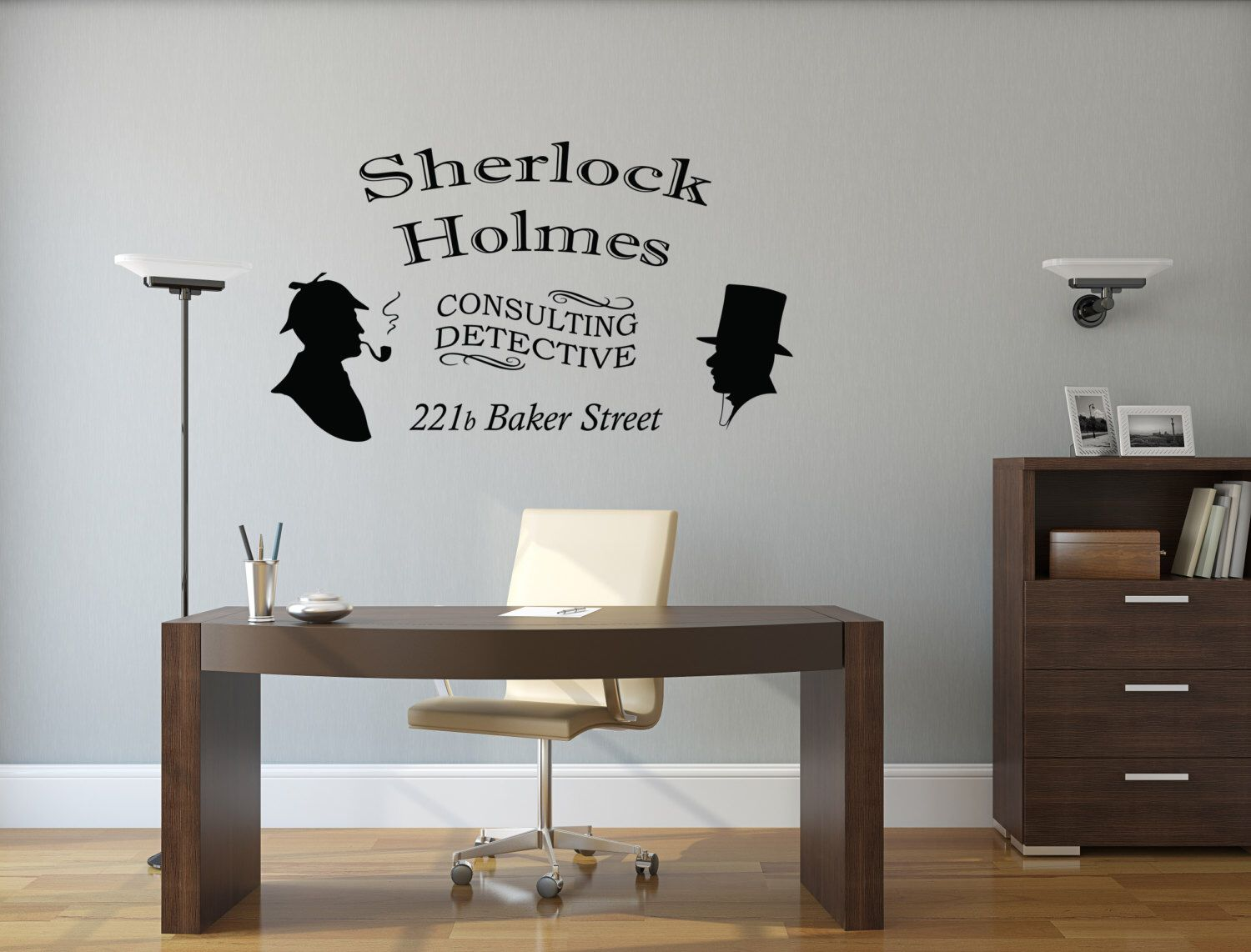 Sherlock Holmes Wall Decal Consulting Detective Room Wall Decor - Vinyl decals for walls etsy