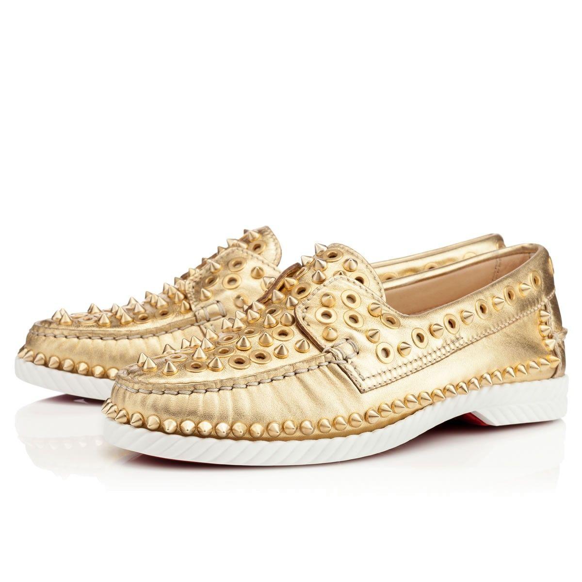 615e7b9c894 Christian Louboutin Yacht Spikes Flat in Gold