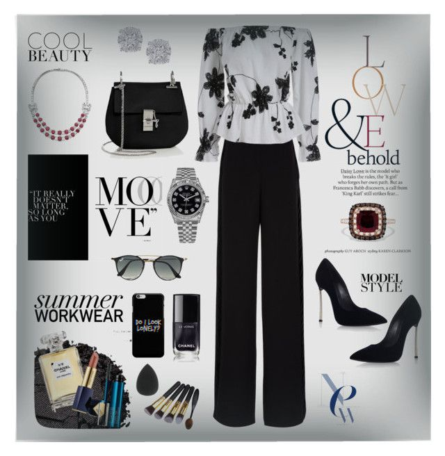 """""""Ellegant Look"""" by dns328 on Polyvore featuring Rochas, Casadei, Chloé, Effy Jewelry, Bulgari, Rolex, ASOS, Ray-Ban, Urban Decay and Chanel"""