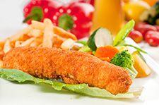 Pané de poulet et légumes vapeur