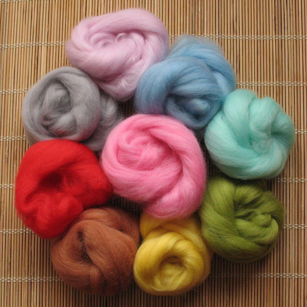 1kg Merino Wool Tops 64's Dyed Fibres - Light - Felt Making