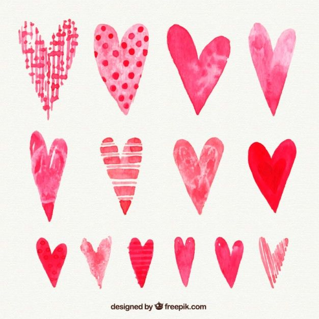 Download Hand Painted Collection Of Valentine Hearts For Free