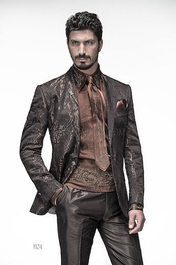 ONGala 1124 - Fashion Suits with Shawl Collar Brown Jacket