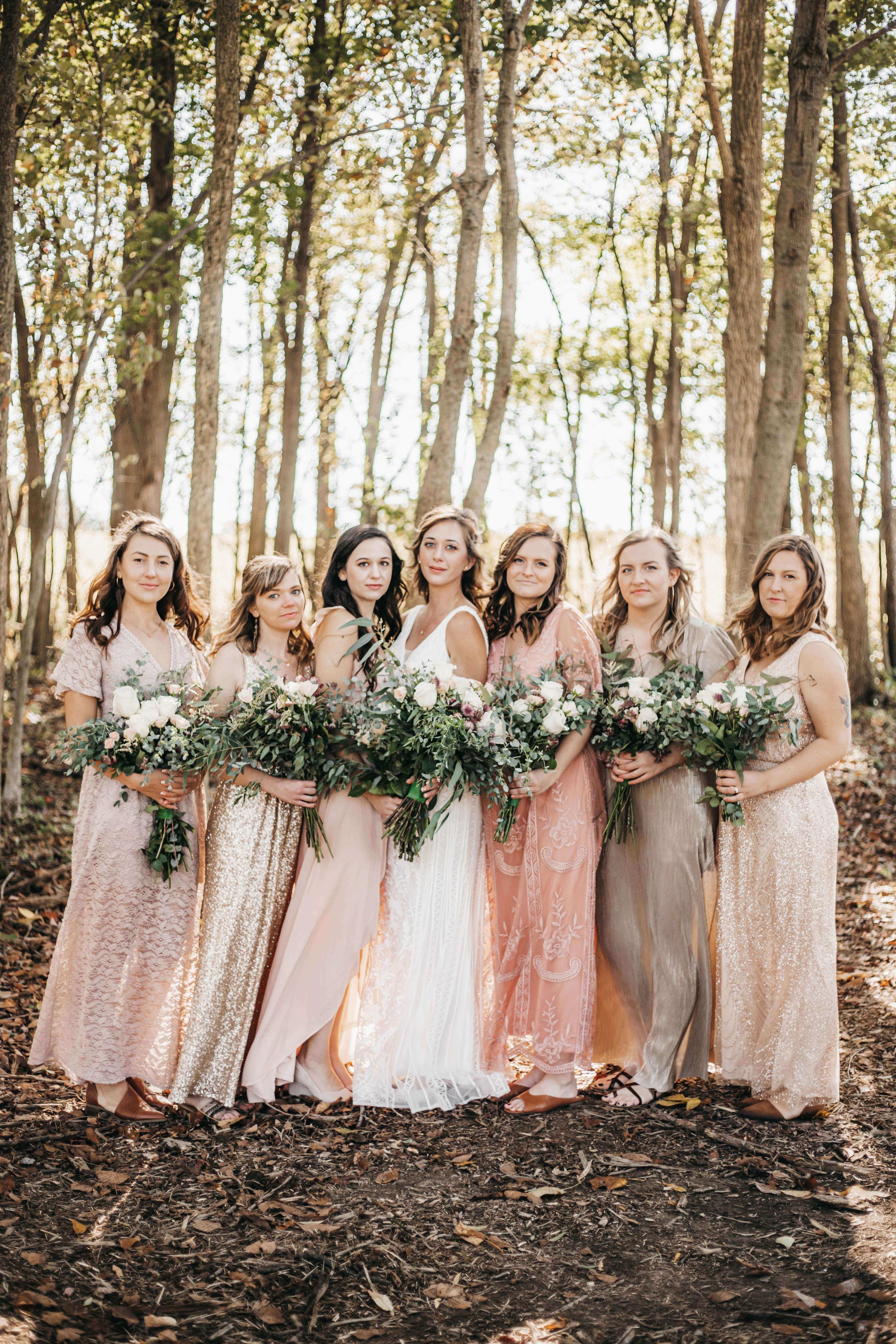 Woodsy Boho Bridesmaid Dress Ideas Coordinating Colors Wedding Gown Florals Inspiration Columbus Bridesmaid Dresses Boho Ohio Wedding Photographer Ohio Wedding