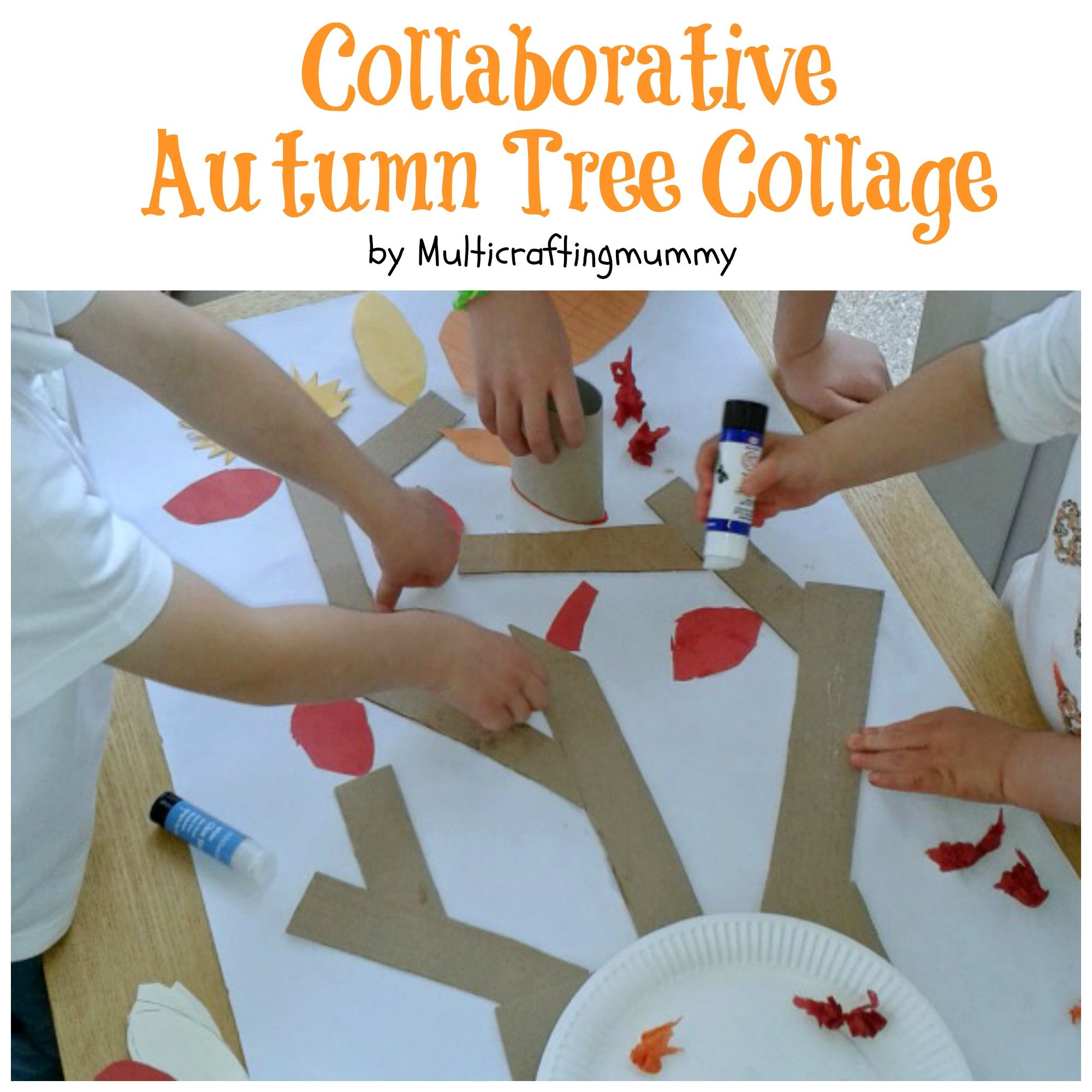 Collaborative autumn tree collage for kids. Plus more ideas for making  autumn tree pictures.