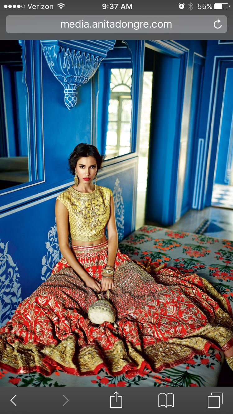 Anita Dongre - Gotapatti gown lehenga. Change the neckline but otherwise nice