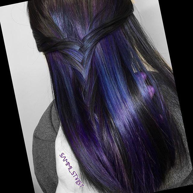 Lila blaue #underlights. # btconeshot_haircolor16 # btconeshot_creativecolor16 #m ...  #blaue #btconeshot #creativecolor16 #haircolor16 #underlights
