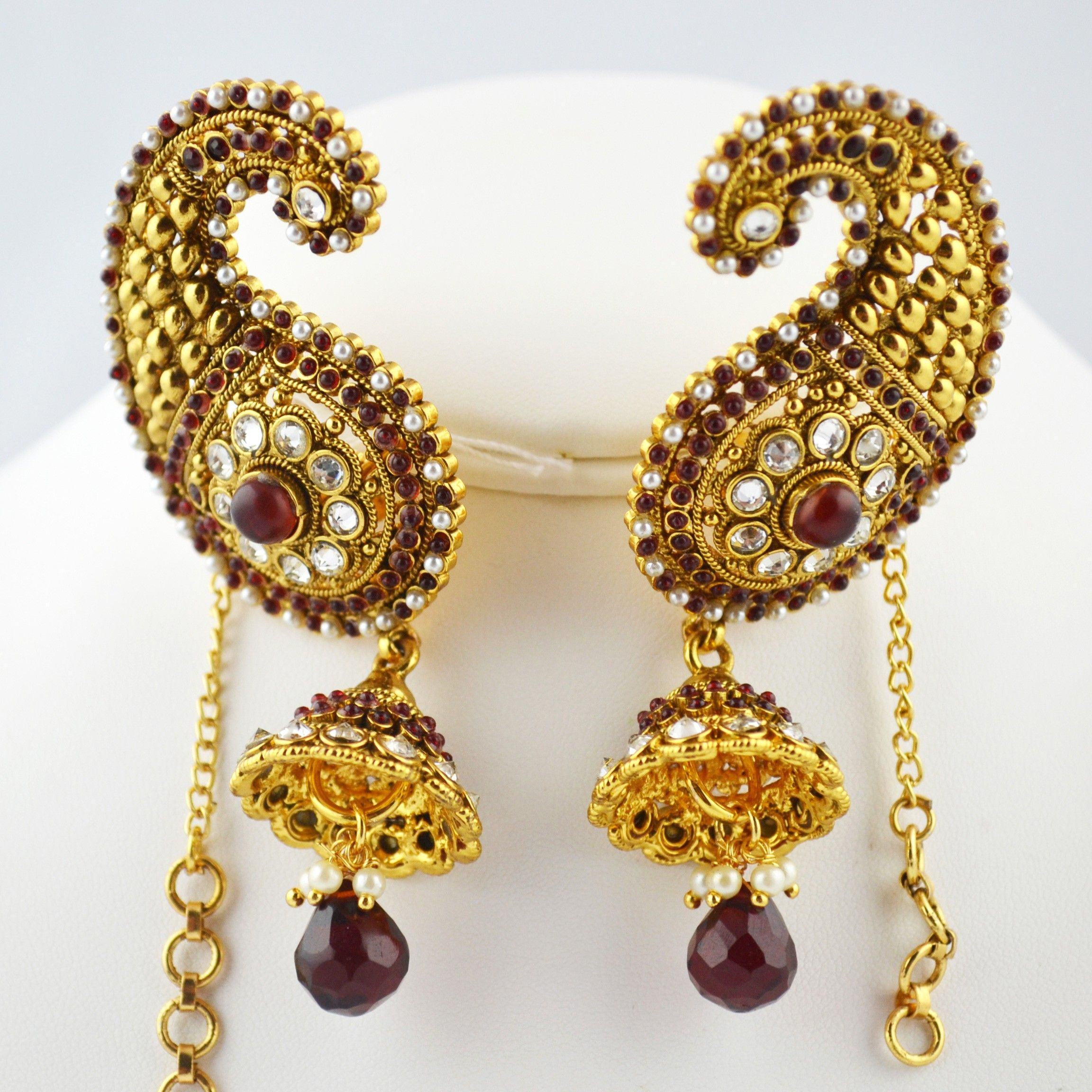 Indian Jewelry Store  Swasam: Full Ear Covering Medium Size Red And  Pearls