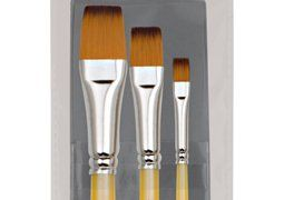Creative Inspirations Dura-Handle Brushes Short Handle Flat Set of 3 Creative In...