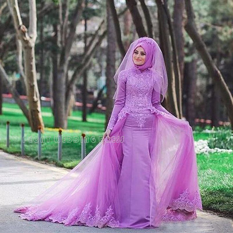 Find A Colorful Lilac Lace Muslim Wedding Dresses Muslin Purple