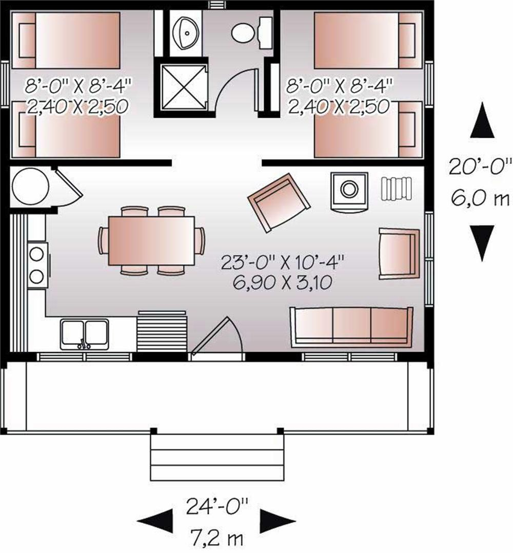 20x24 39 floor plan w 2 bedrooms floor plans pinterest for Small house plans with 2 master suites