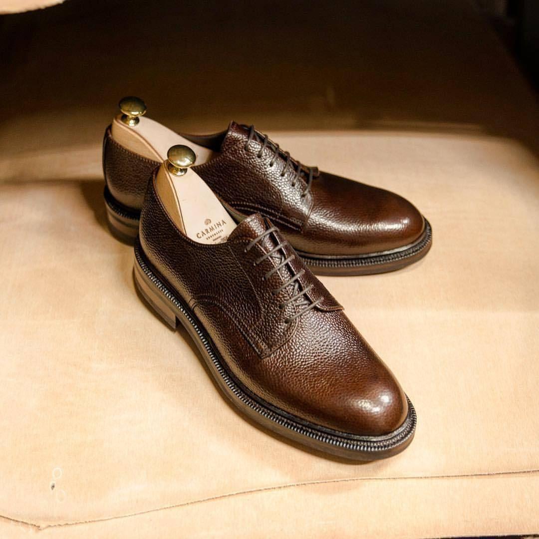 467f0de2073 Carmina shoemaker — Plain toe blucher in brown grain
