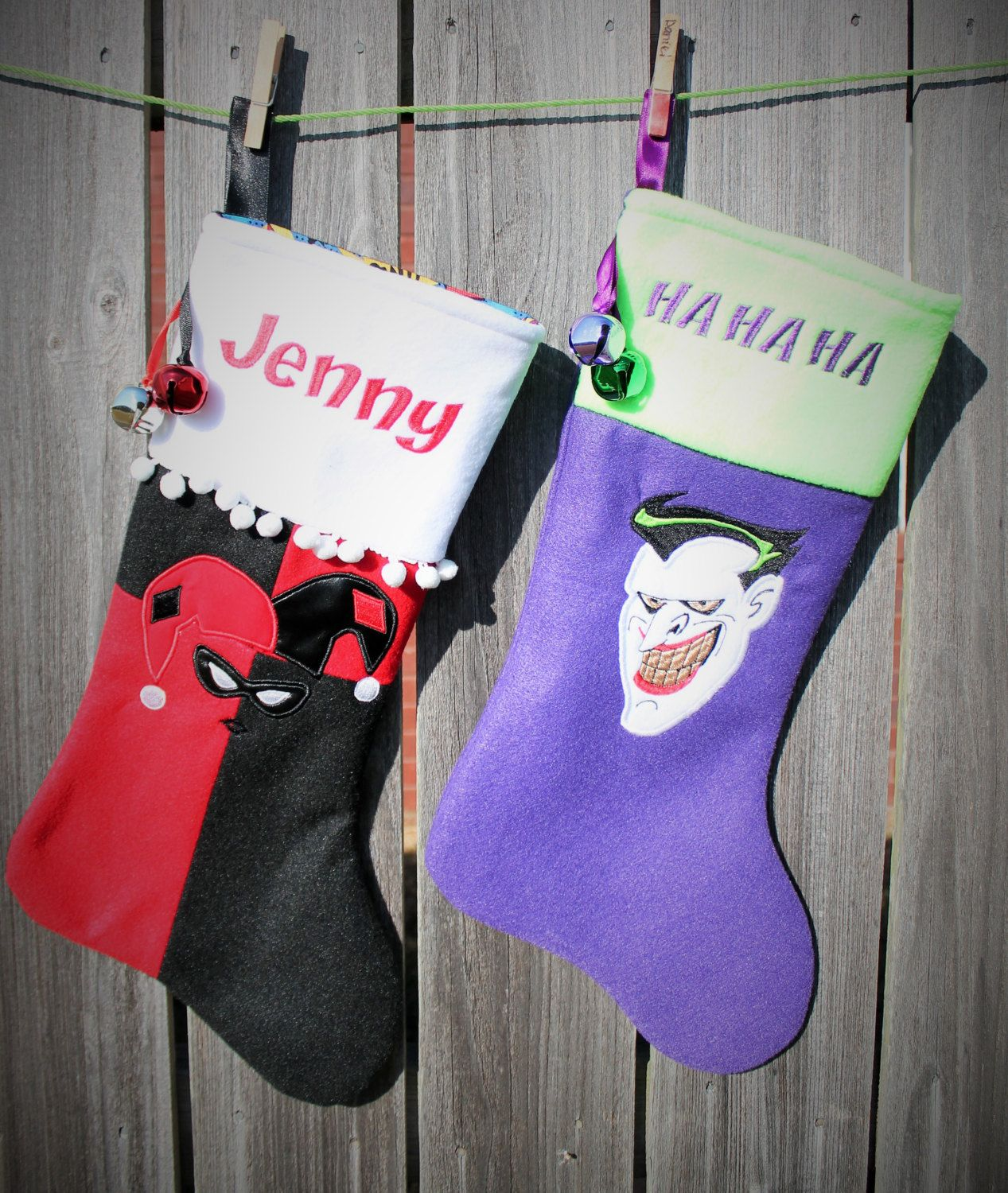 Harley Quinn or Joker Christmas Stocking, Embroidered with your name ...