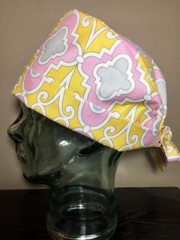 Yellow, Pink & Grey Quatrefoil Surgical Scrub Cap, Women's Modern Pixie Scrub Cap, Operating Room Hat, Custom Caps Company by CustomCapsCompany on Etsy