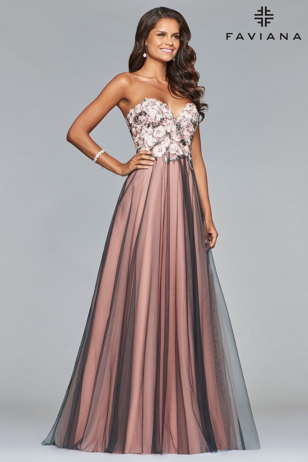 5f1890010bb This princess gown features a full skirt of dusty pink with smoke mesh  overlay. The sweetheart top features gray and pink floral lace appliques