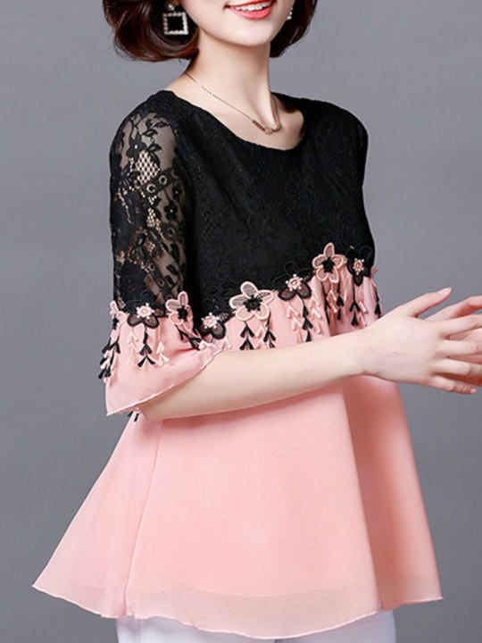 Round Neck Polyester Patchwork See Through Lace Sleeve Three Quarter