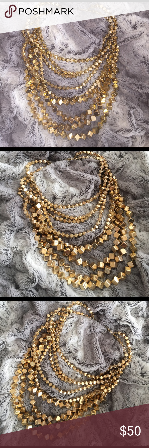 GORGEOUS Multi strand gold cube necklace Absolutely stunning. Conversation piece. Jewelry Necklaces