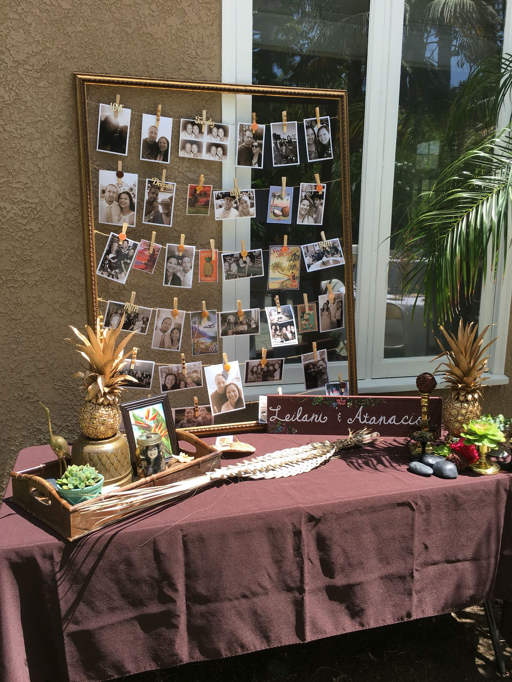 Photo Display For Vintage Hawaiian Theme Wedding Shower