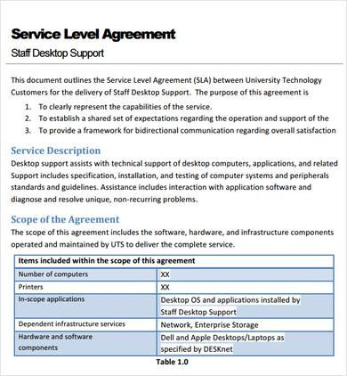 Service Level Agreement Template , Basics To Make Your Own Service  Agreement Template , Service Agreement Template Can Be Created By Following  Some ...