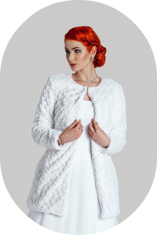 Wintermantel für die Braut / Felljacke aus Kunstfell zum Brautkleid ...