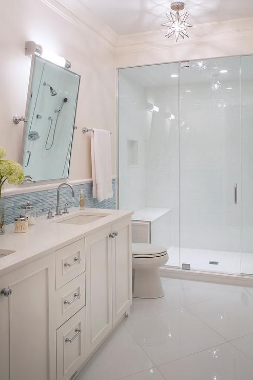 Walk In Shower With Large Floor Tiles Clean Crisp Solid Surface
