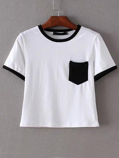 b2cb5b41a1d46 Camiseta ribete negro bolsillo crop -blanco